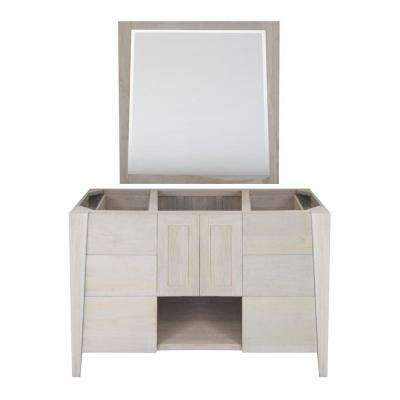 Significado 48 in. W Teak Vanity Bath Cabinet Only With Mirror in Driftwood