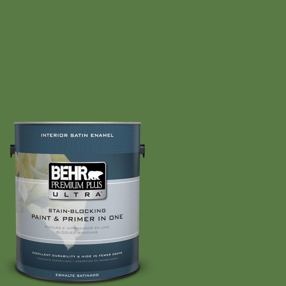 BEHR Premium Plus Ultra 1-gal. #S-H-430 Mossy Green Satin Enamel Interior Paint