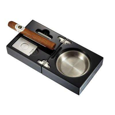 Bremen Black Lacquer Folding Cigar Ashtray with Cutter and Punch