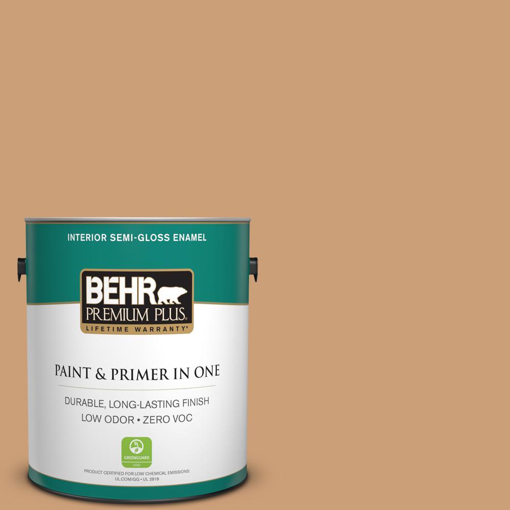 BEHR Premium Plus 1-gal. #ICC-62 Pumpkin Butter Zero VOC Semi-Gloss Enamel Interior Paint