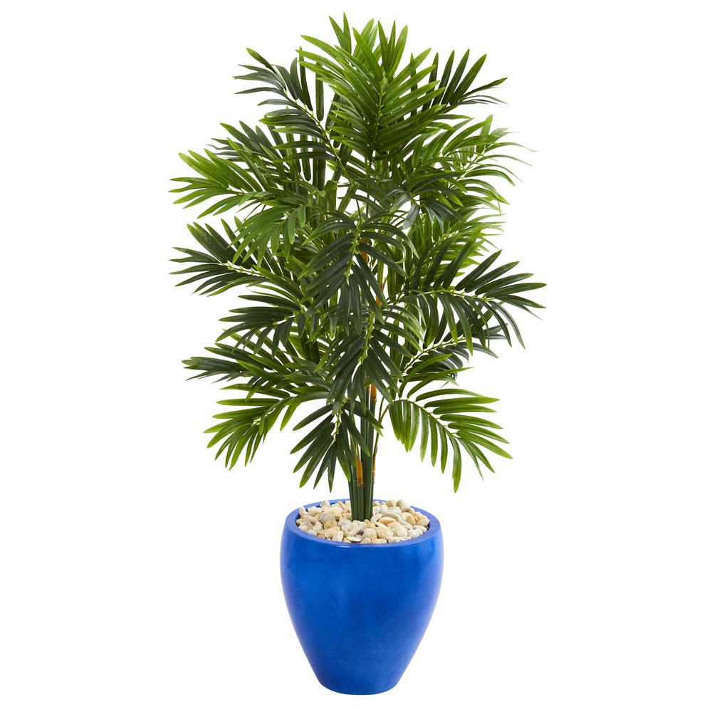 Indoor 4 ft. Areca Palm Artificial Tree in Glazed Blue Planter
