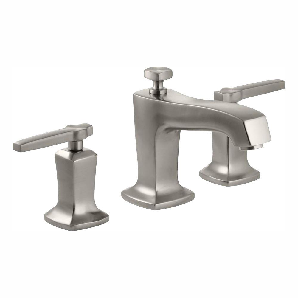 KOHLER Margaux 8 in. Widespread 2-Handle Low-Arc Water-Saving Bathroom Faucet in Vibrant Brushed Nickel