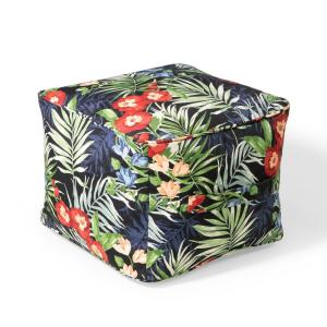 Hampton Bay 19 in. x 19 in. x 14 in. Black Floral Outdoor Pouf