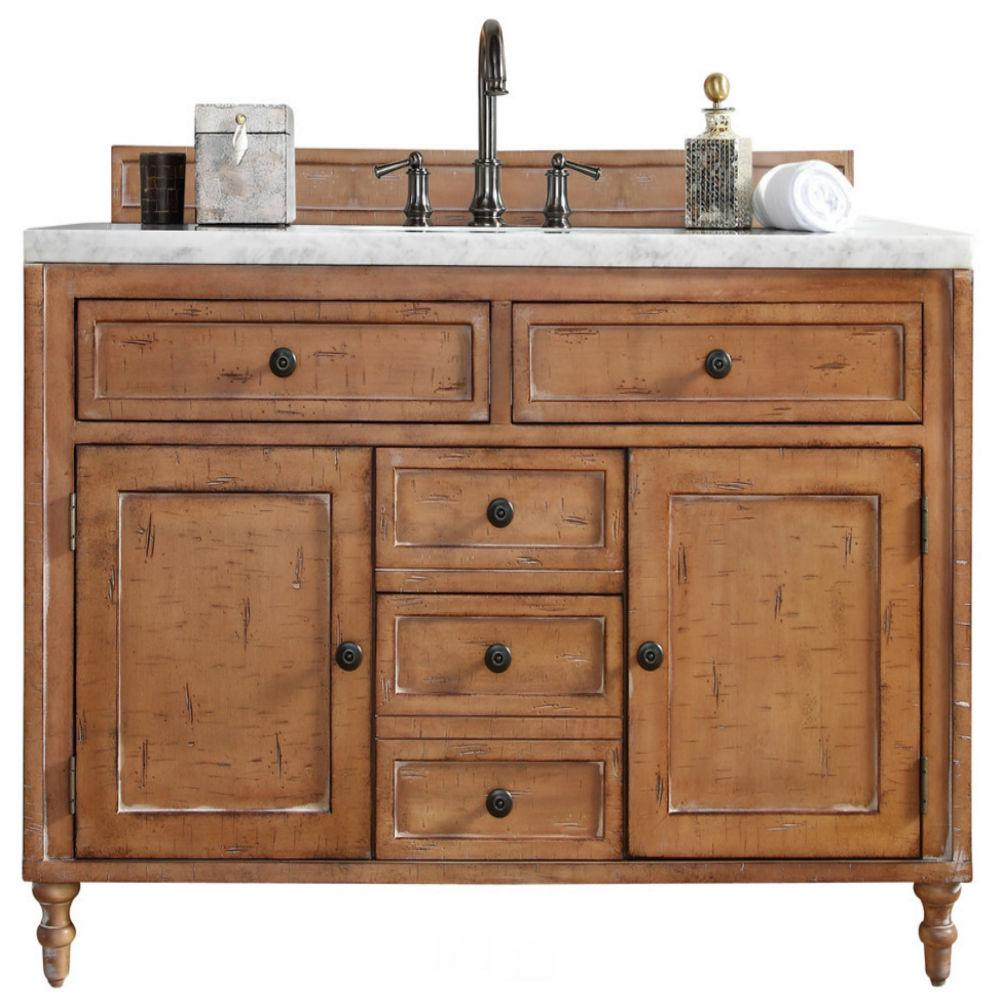 James Martin Signature Vanities Copper Cove 48 in. W Single Vanity in Driftwood Patina with Marble Vanity Top in Carrara White with White Basin