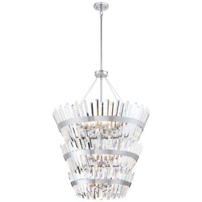 Echo Radiance 24-Light Chrome Chandelier with Crystal Glass Shade