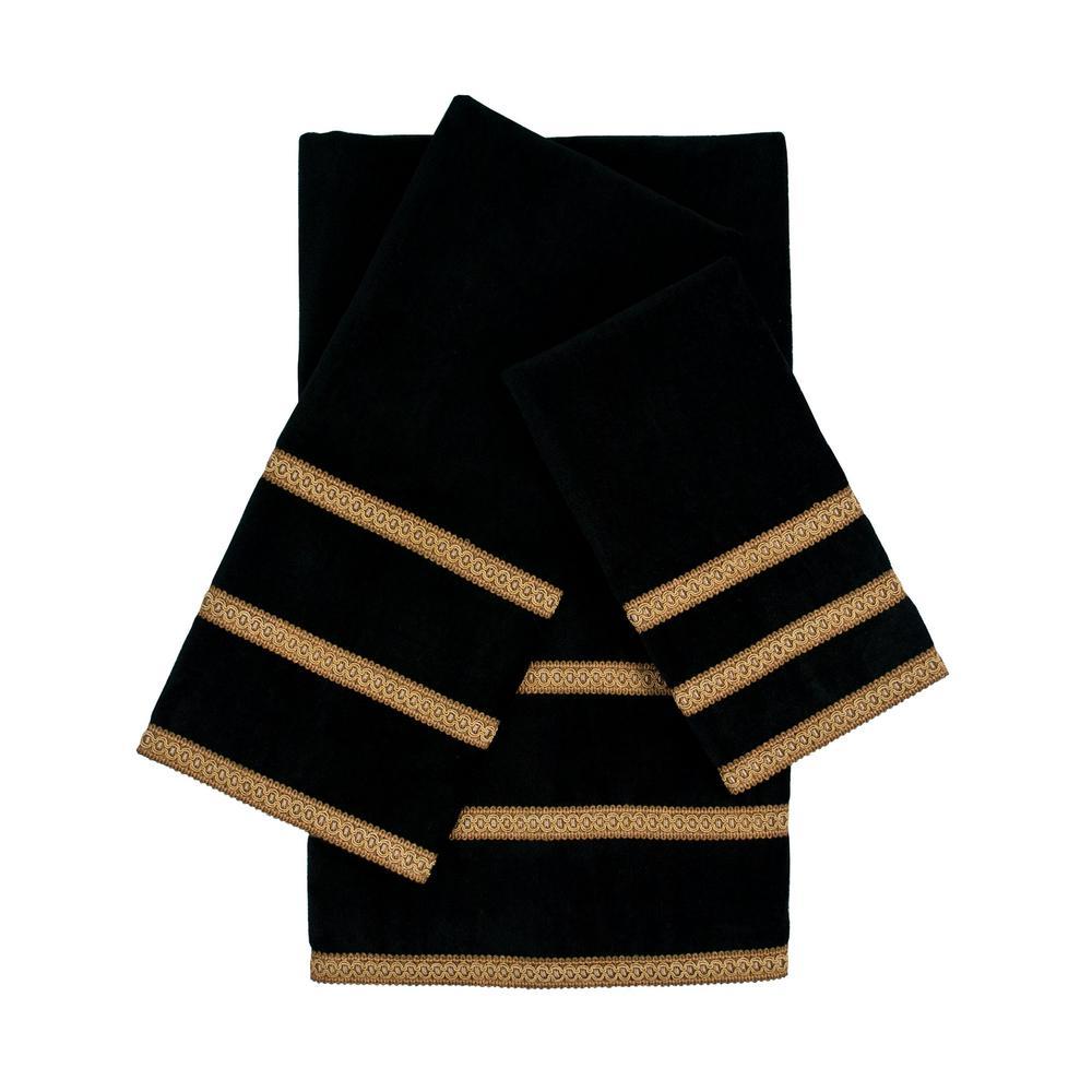 Triple Row Gimp Black Embellished Towel Set (3-Piece)