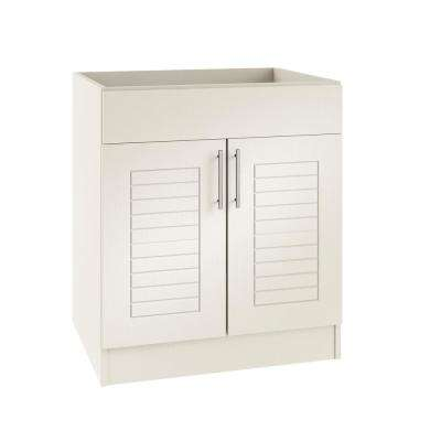 Assembled 36x34.5x24 in. Key West Open Back Sink Outdoor Kitchen Base Cabinet with 2 Doors in Radiant White