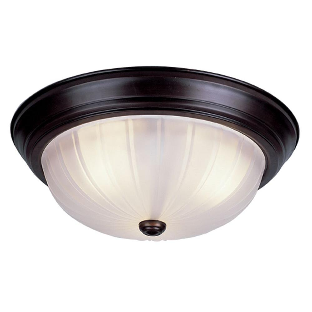 Stewart 3-Light Rubbed Oil Bronze Incandescent Semi-Flush Mount Light