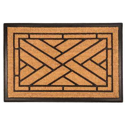 Diagonal Tiles 18 in. x 30 in. Recycled Rubber and Coir Door Mat