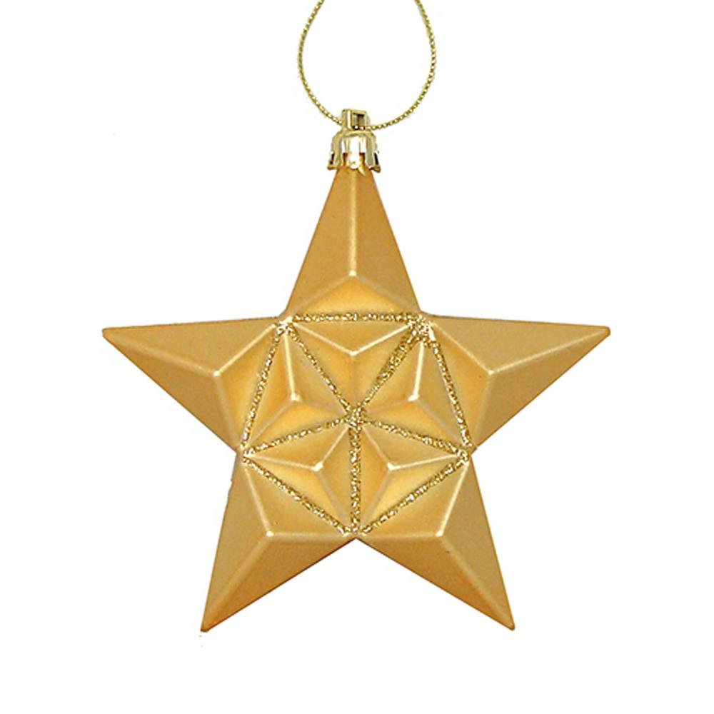 5 in. Matte Vegas Gold Glittered Star Shatterproof Christmas Ornaments