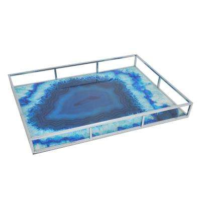 Ocean Blue and Silver Metal Tray