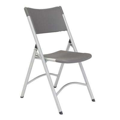 Charcoal Plastic Seat Outdoor Safe Folding Chair (Set of 4)