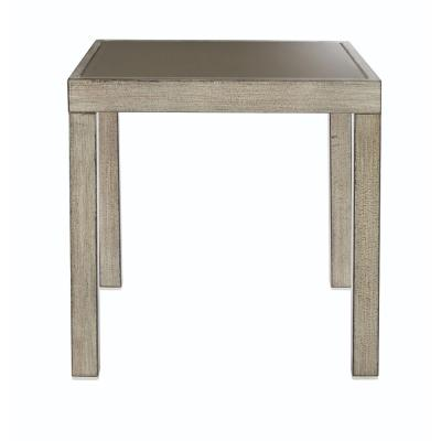Alessandria Distressed Metal White Outdoor End Table