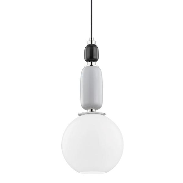 Camila 1-Light Polished Nickel Pendant with Glass Shade