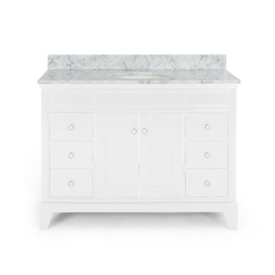 Finlee 48 in. W x 22 in. D Bath Vanity with Carrara Marble Vanity Top in White with White Basin