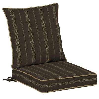 Trevor Stripe Espresso 2-Piece Outdoor Lounge Chair Cushion