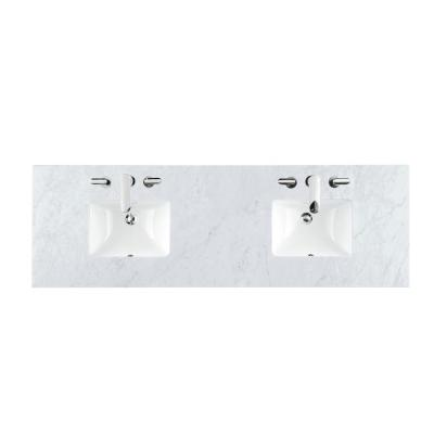 Carrara 72 in. W Marble Double Basin Vanity Top in Carrara White with White Basin