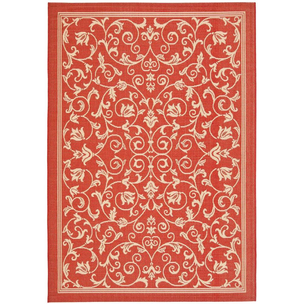 Safavieh Courtyard Red/Natural 9 Ft. X 12 Ft. Indoor