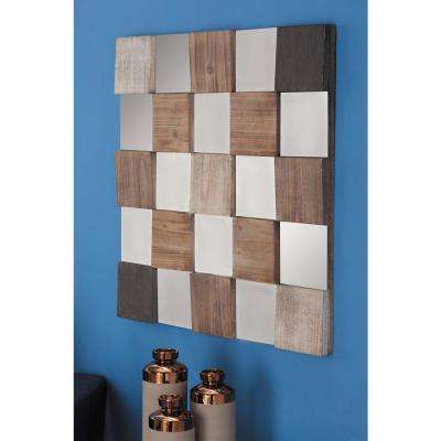 35 in. x 35 in. Wood Checkered Design Framed Mirror