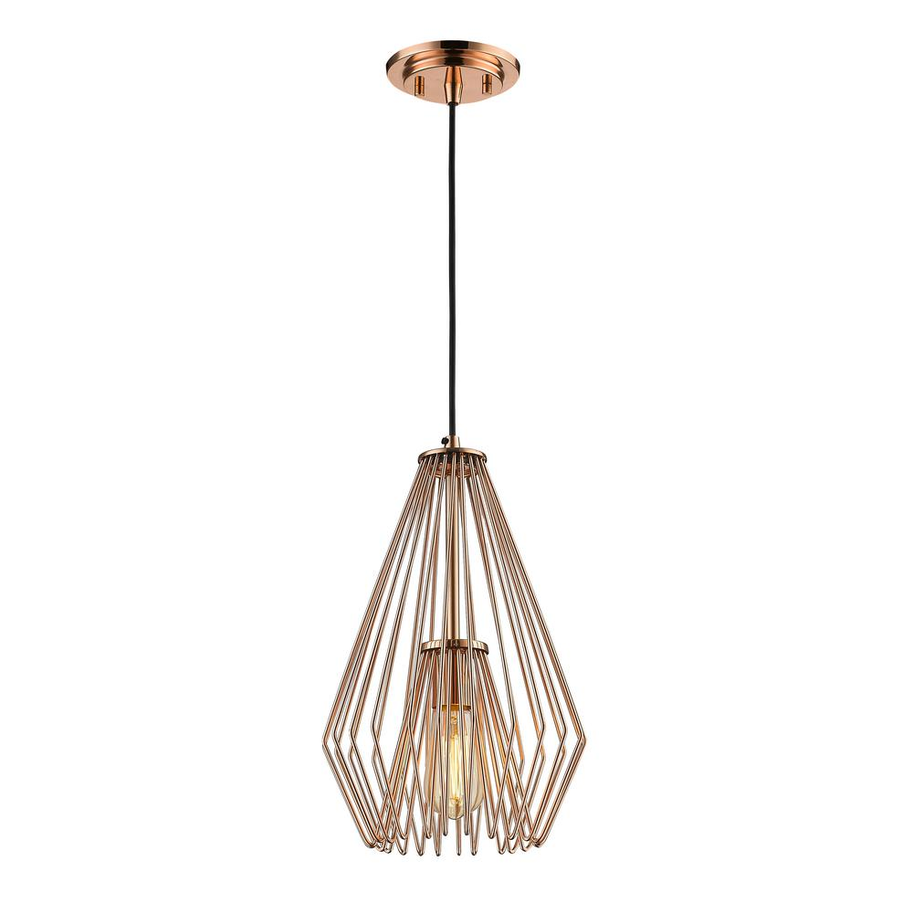 Naveen 1-Light Copper Mini Pendant with Copper Steel Shade