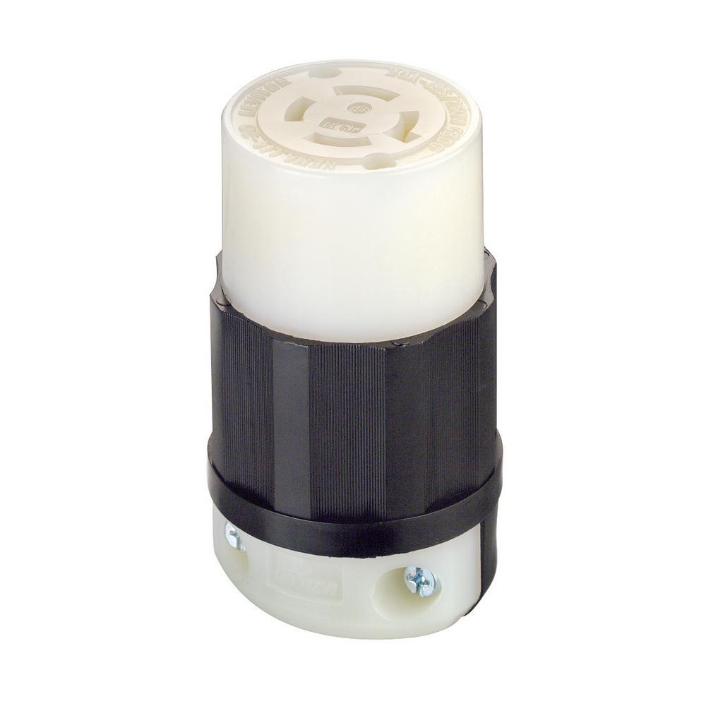 20 Amp 125/250-Volt Locking Grounding Connector, Black/White