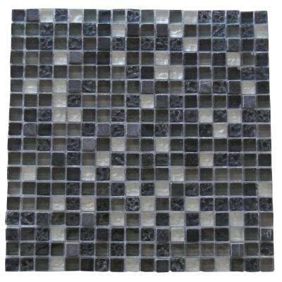 Quartz Blue Brown Navy Mix 11.7 in. x 11.7 in. x 7.94 mm Glass and Stone Mosaic Tile