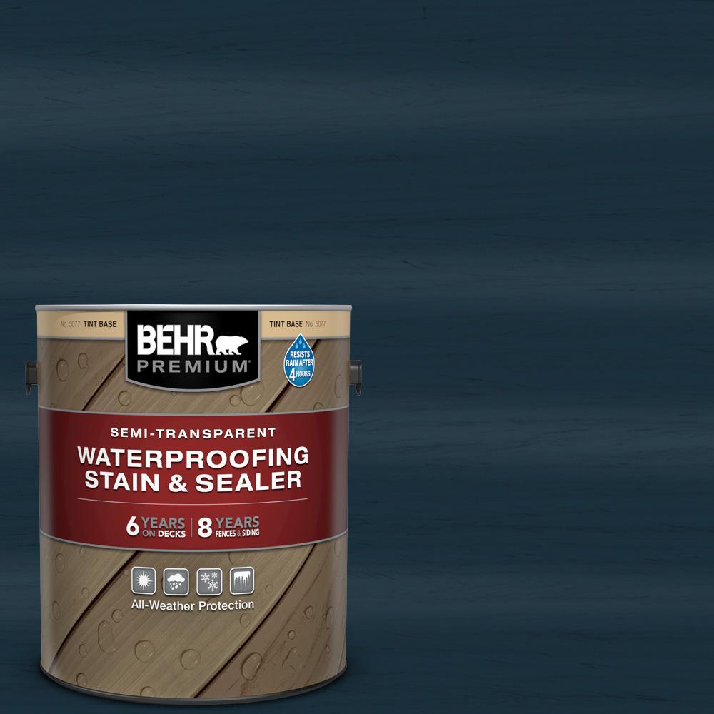 BEHR Premium 1 gal. #ST-101 Atlantic Semi-Transparent Waterproofing Exterior Wood Stain and Sealer