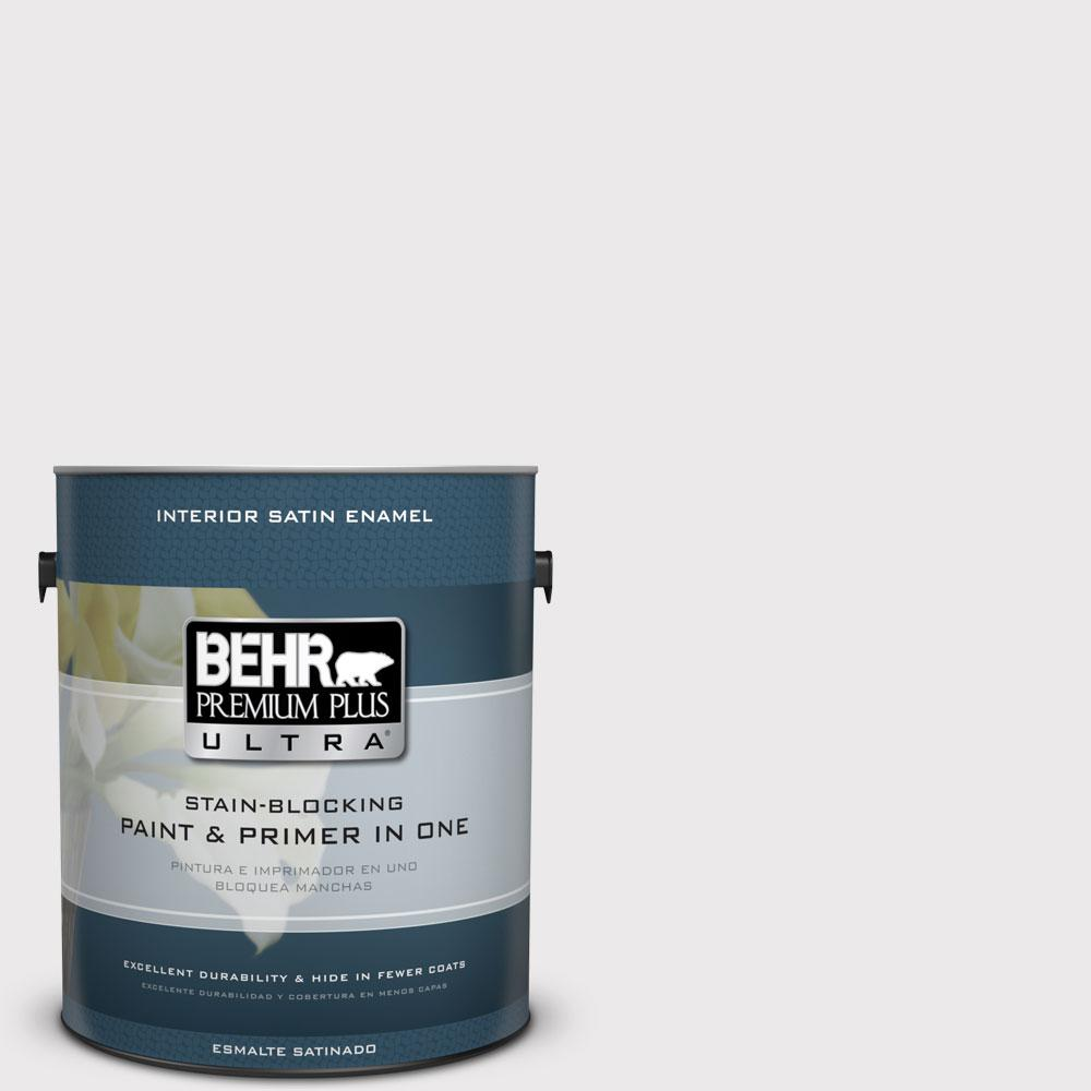 BEHR Premium Plus Ultra 1 gal. #W-D-620 Pale Bud Satin Enamel Interior Paint and Primer in One