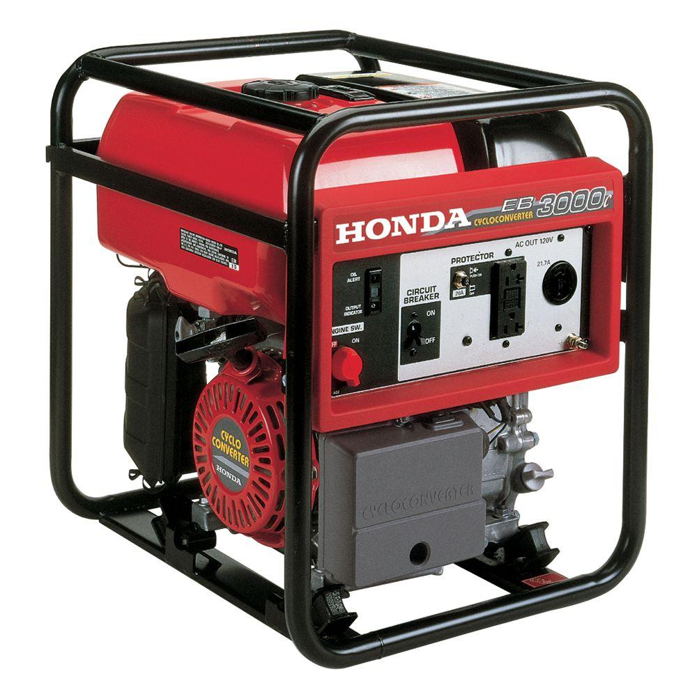 Honda Industrial 3000-Watt Lightweight Gasoline Powered CycloConverter Portable Generator with GFCI Protection and Oil Alert