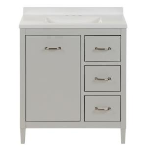 Marrett 30.5 in. W x 18.75 in. D Bath Vanity in Light Gray with Solid Surface Vanity Top in Snow with White Sink