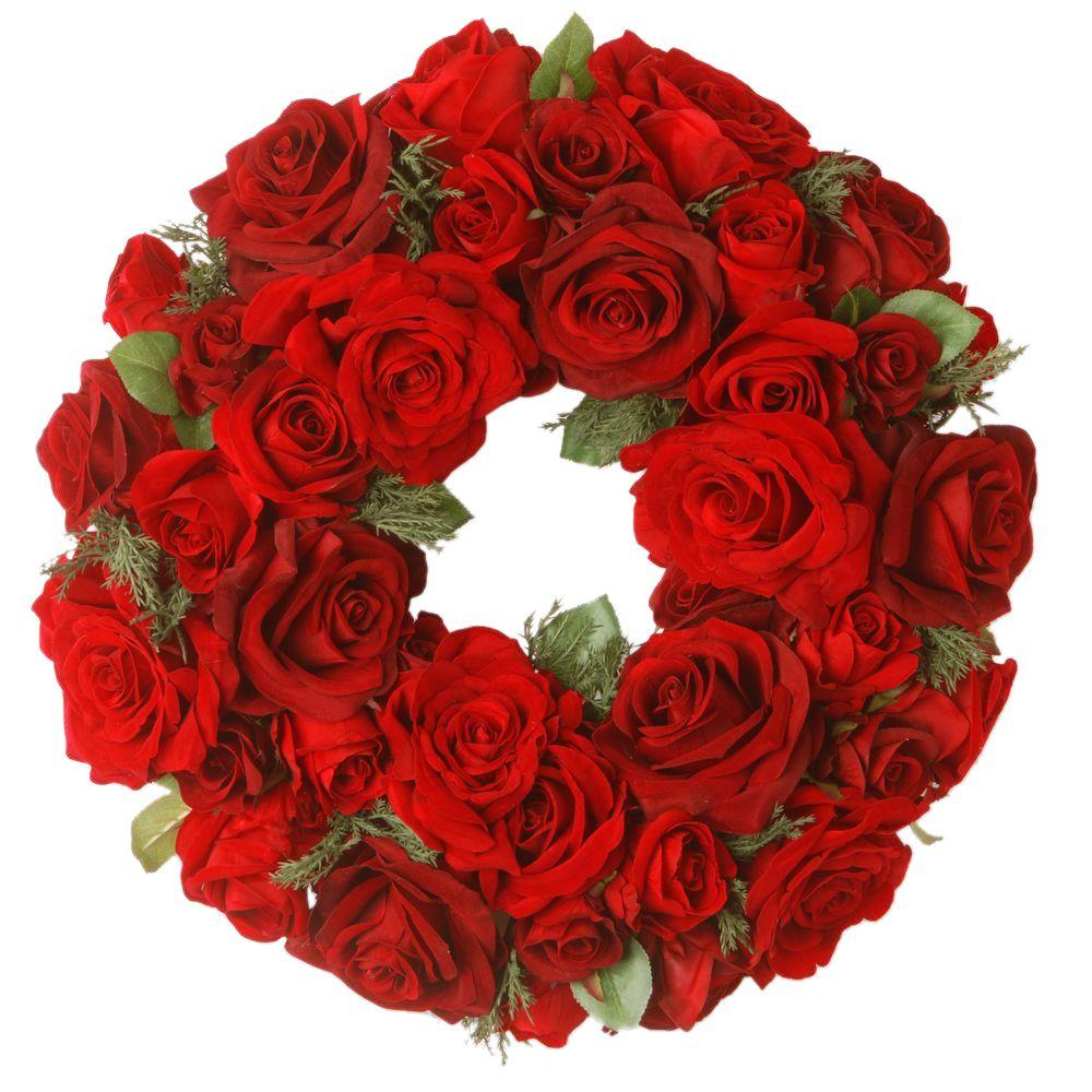 15 in. Decorated Wreath with Velvet Mixed Roses and Cedar in