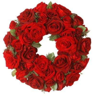 15 in. Decorated Wreath with Velvet Mixed Roses and Cedar in Foam Base