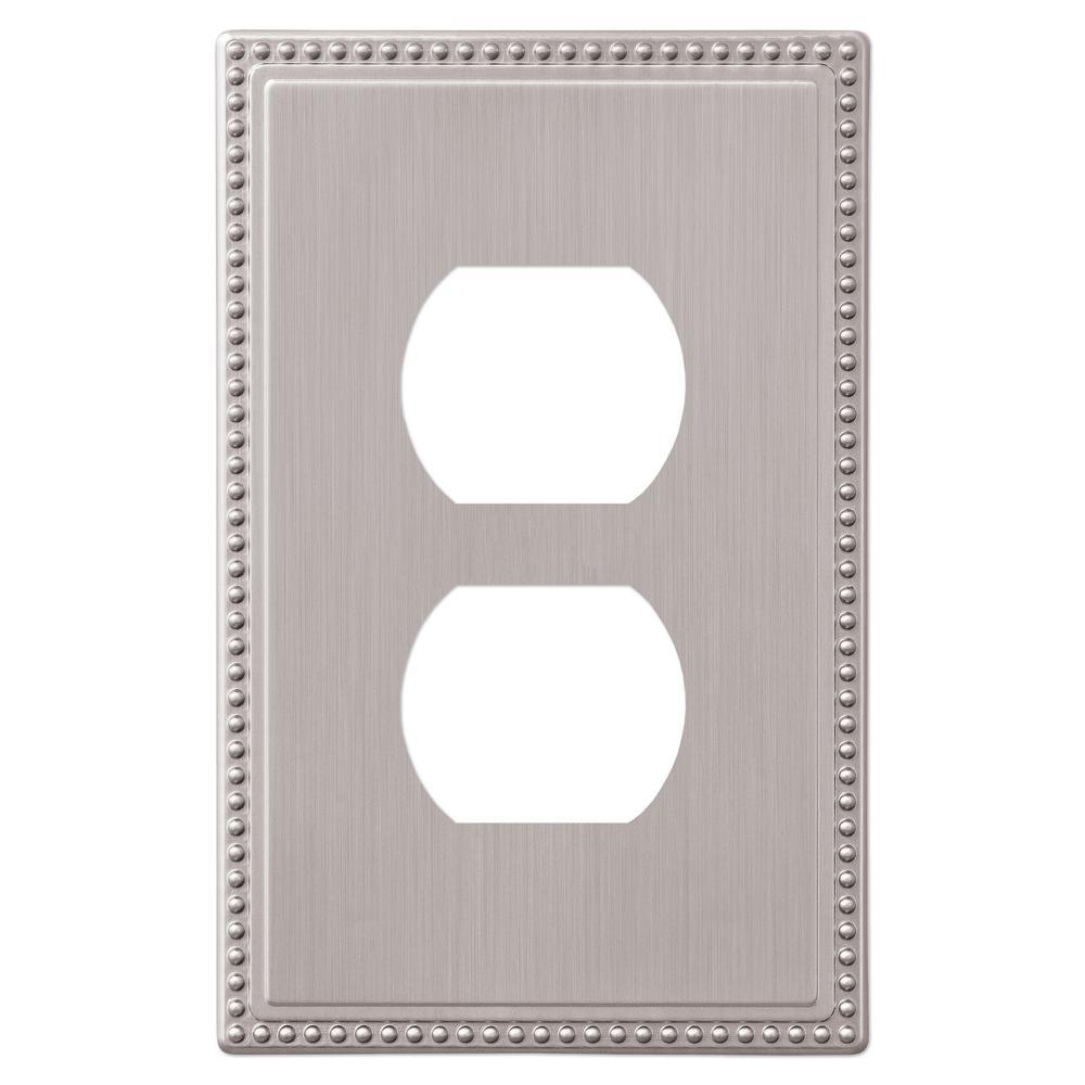 Perlina 1 Gang Duplex Metal Wall Plate - Brushed Nickel