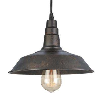 1-Light Bronze Indoor Ceiling Warehouse Barn Pendant Light