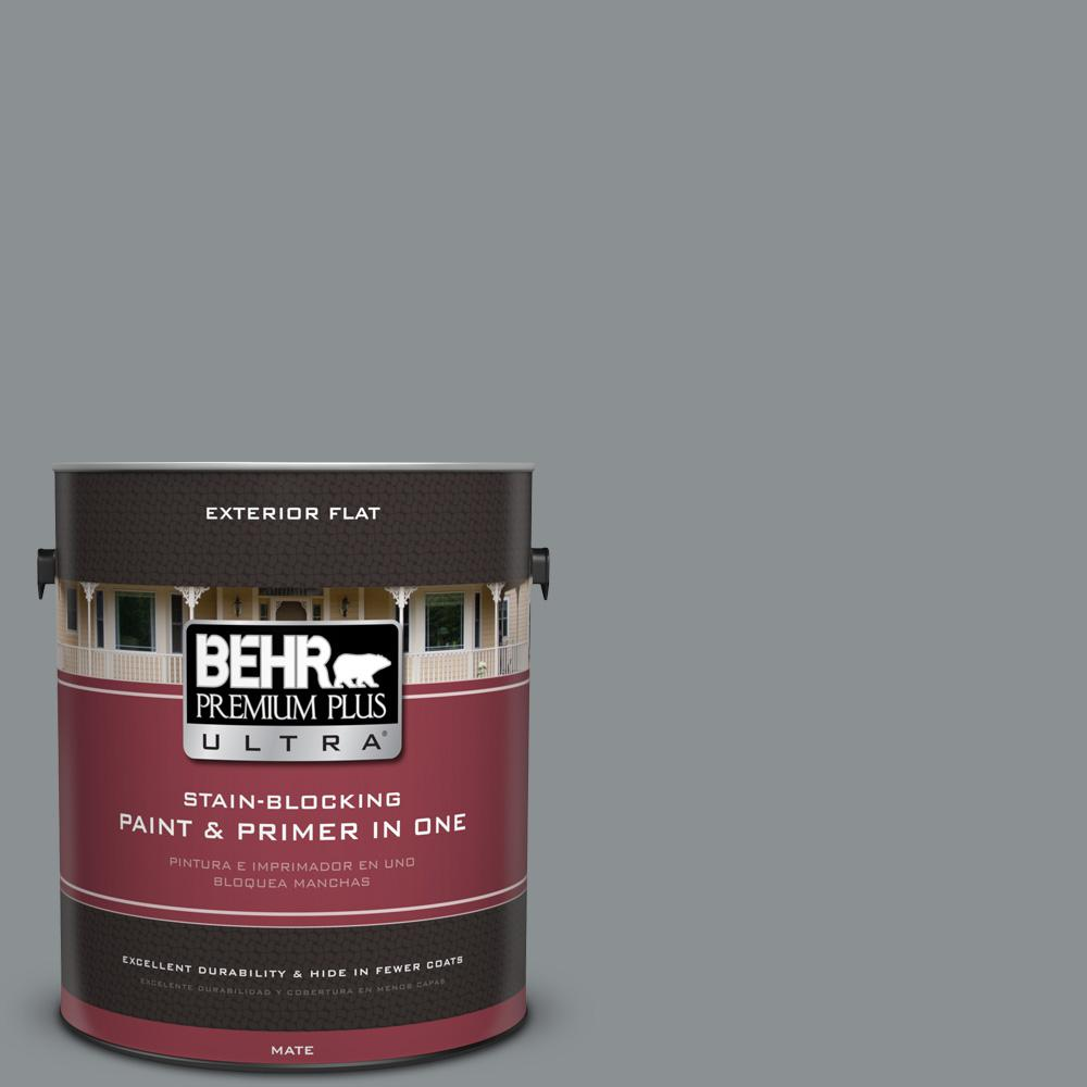 1 gal. #MQ5-29 Gotham Gray Flat Exterior Paint and Primer in