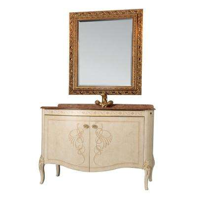 Heritage 32 in. W x 22 in. D Vanity in Gold with Solid Oak Wood Vanity Top in Brown with Gold Basin