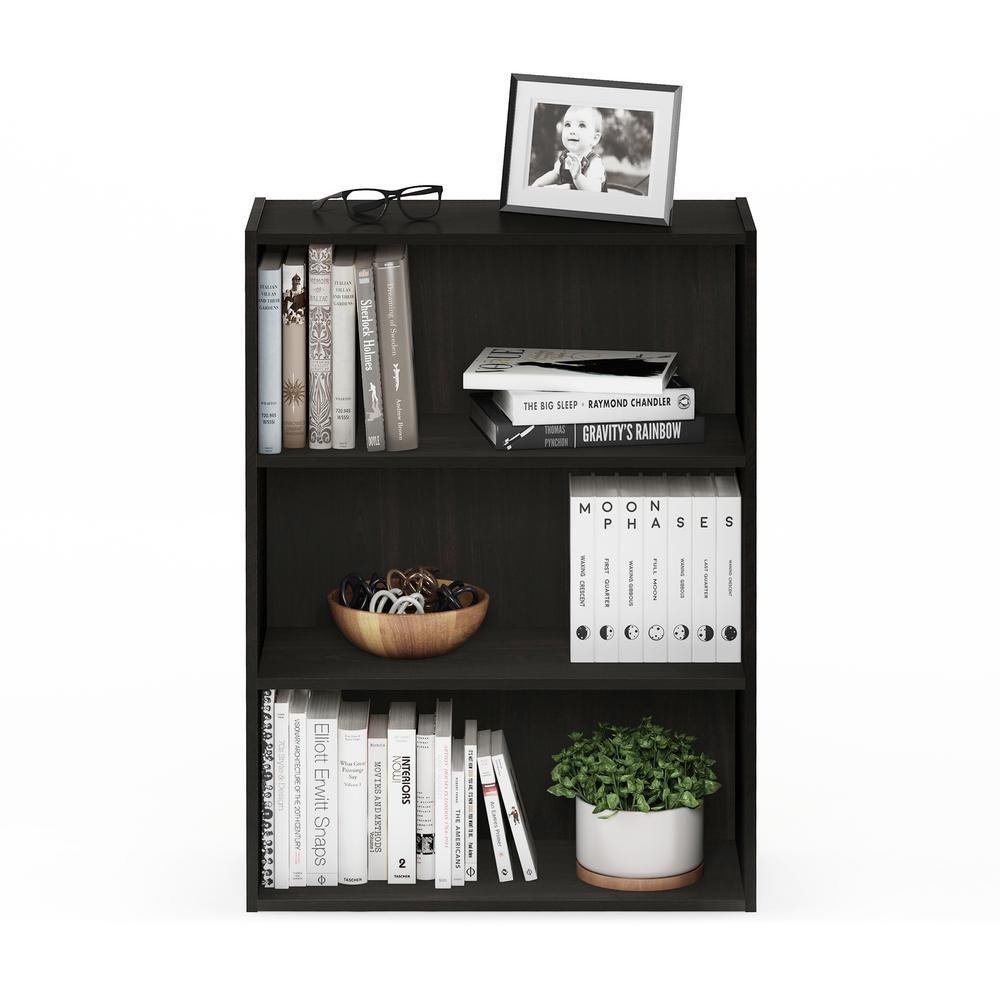 31.5 in. Espresso Wood 4-shelf Standard Bookcase with Storage