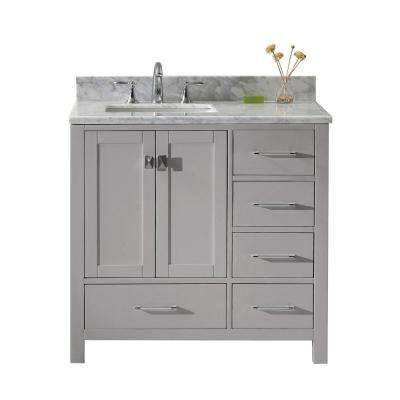 Caroline Avenue 36 in. W Bath Vanity in Cashmere Gray with Marble Vanity Top in White with Square Basin