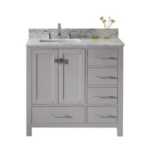 Virtu USA Caroline Avenue 36 inch W Vanity in Cashmere Grey with Marble Vanity Top in White with Square Basin in White by Virtu USA