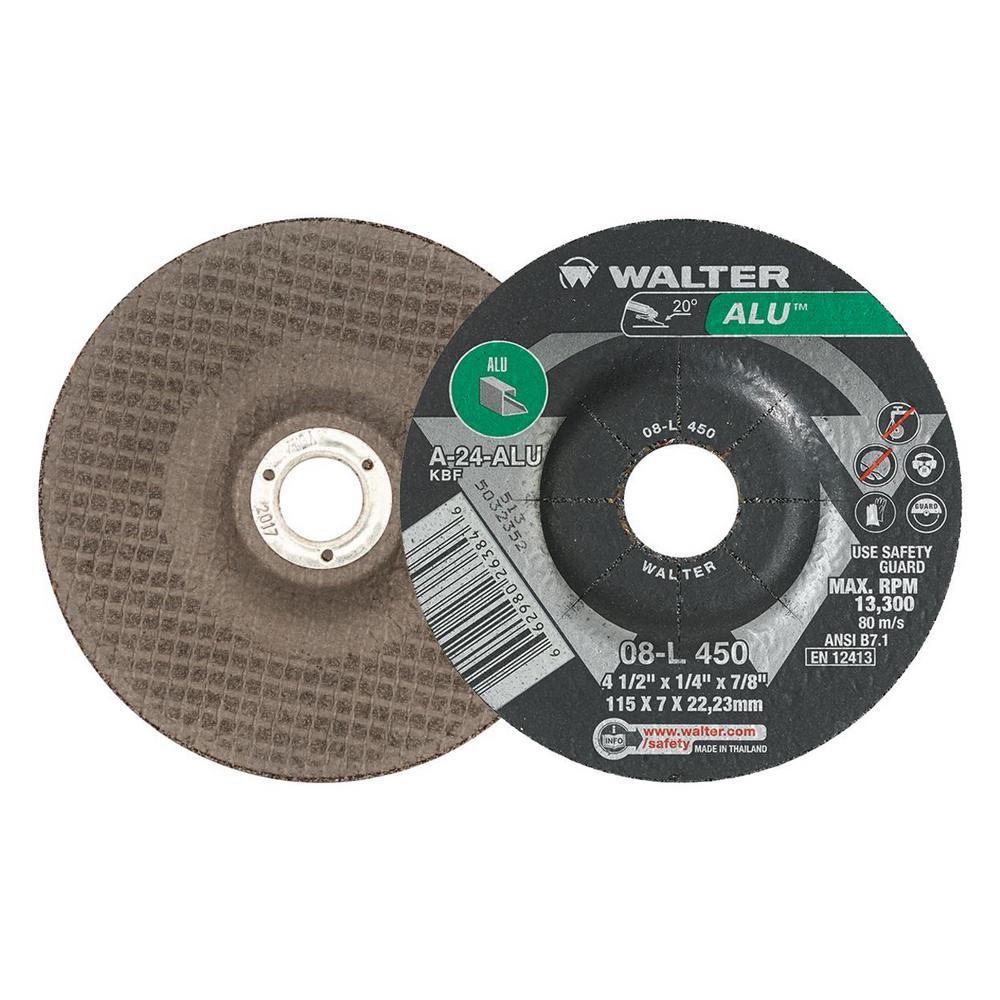Depressed Center Wheel 24 Grit Alum. 1//4 in Thick 4 1//2 in Dia 5//8 in Arbor 156 Pack