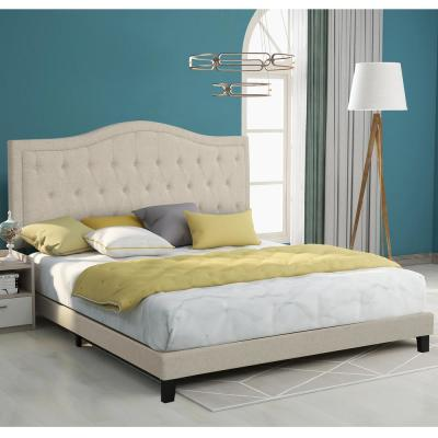 Beige King Classic Style Upholstered Linen Bed