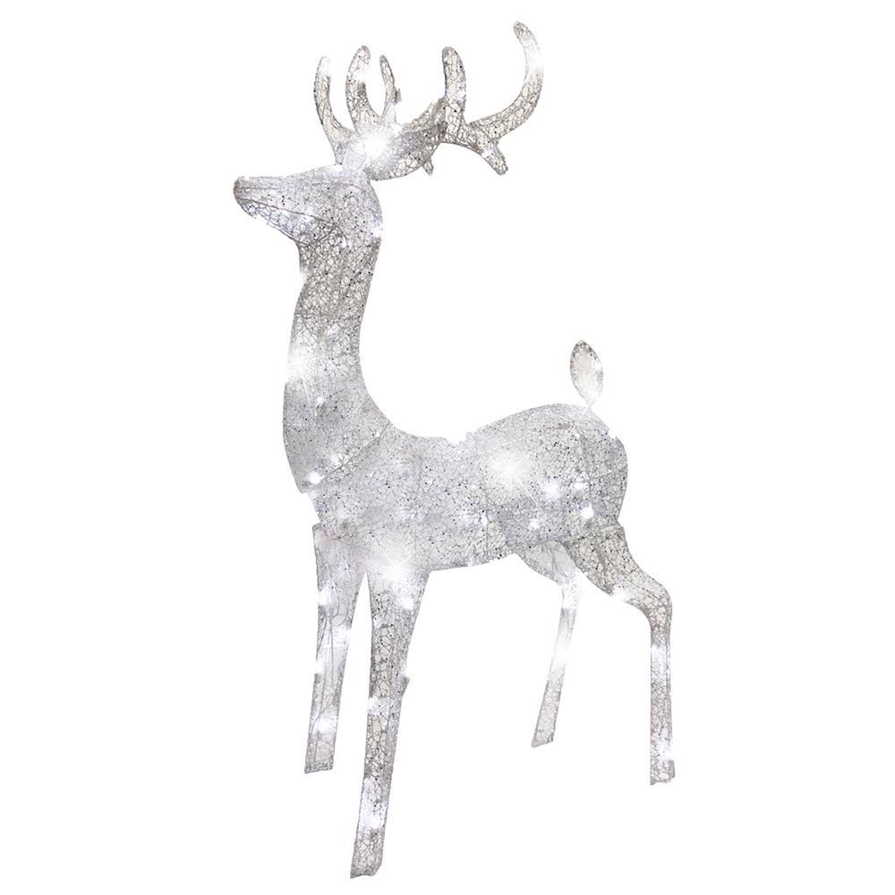 52 in. Silver Spun Glitter Elegant LED Morphing Buck Deer