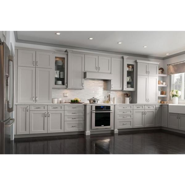 American Woodmark Reading 14 1 2 X 14 1 2 In Cabinet Door Sample In Soft Gray 97879 The Home Depot