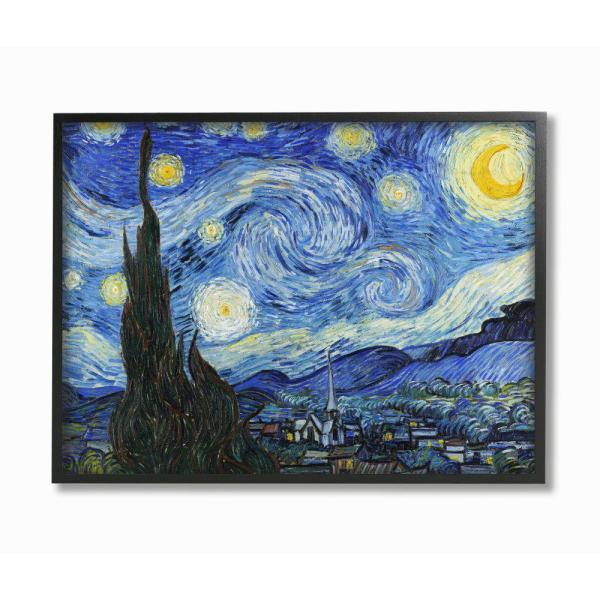 "The Stupell Home Decor Collection 11 in. x 14 in. ""Van Gogh Starry Night Post Impressionist Painting"" by Vincent Van Gogh Framed Wall Art"