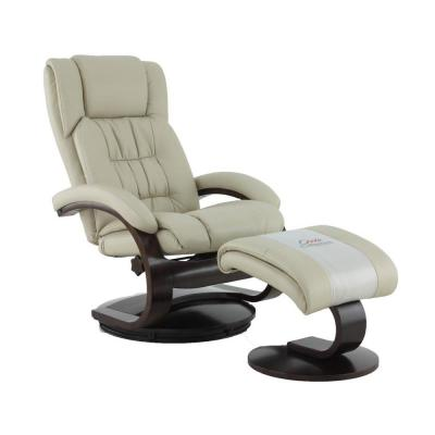Norfolk Beige Air Leather Recliner with Ottoman
