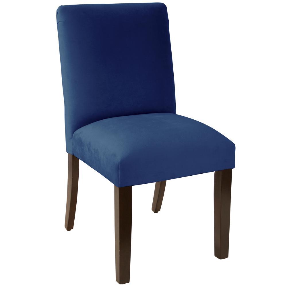 Navy Velvet Anneau Dining Chair: Velvet Navy Dining Chair With Diamond Tufted Back-82