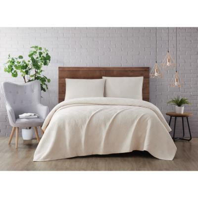 Washed Rayon Basketweave 3-Piece Natural Full/Queen Quilt Set