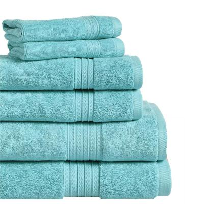 Summit 6-Piece 100% Cotton Bath Towel Set in Aqua