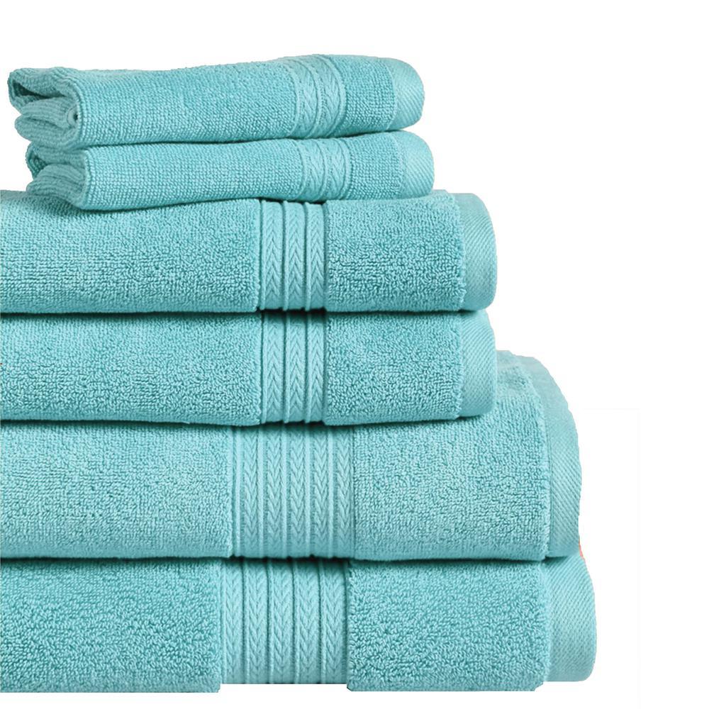 Summit 6-Piece 100% Cotton Bath Towel Set in Aqua