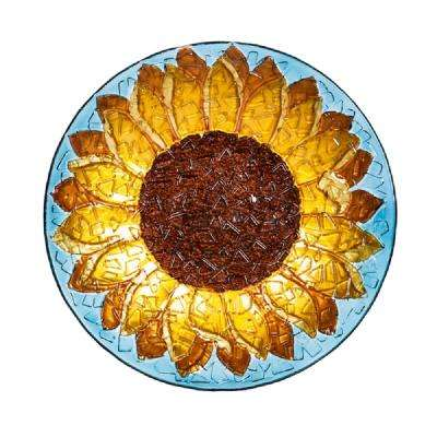 Sunflower 18 in. Crushed Glass Look Birdbath